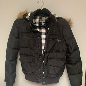 Victoria's Secret PINK Black Bomber Puffer Jacket